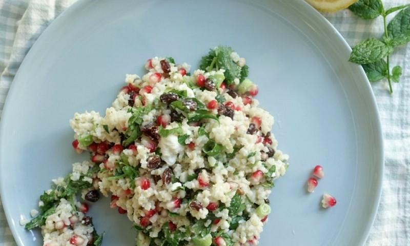 Bulgur salade met granaatappel en feta