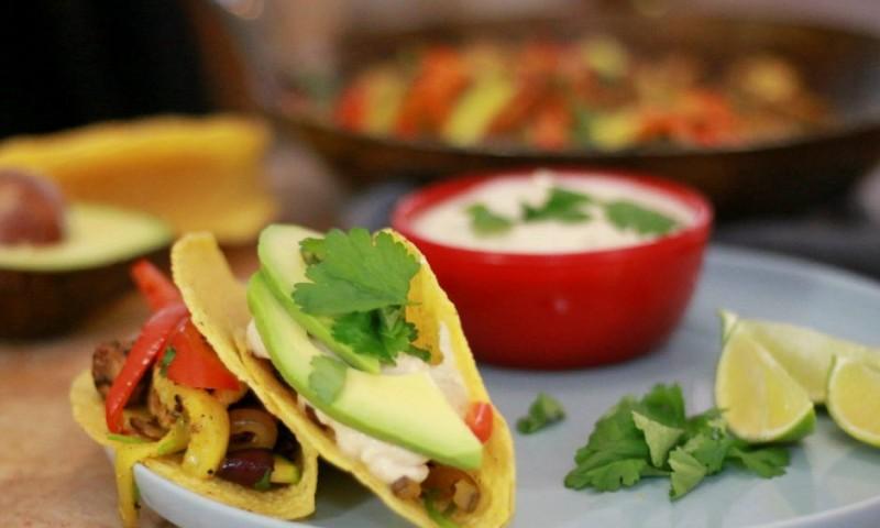 Vegan taco's met geroosterde tofu en groenten