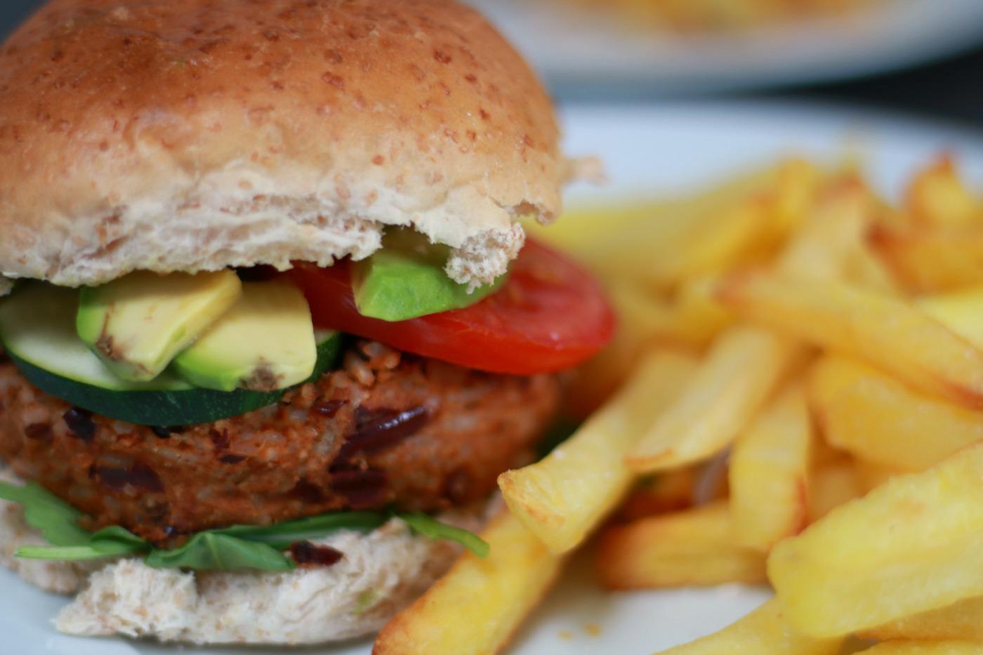 vegan burger recept met ovenfriet