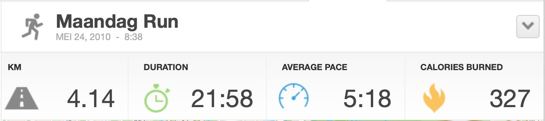 Mijn eerste keer hardlopen met de Runkeeper app.