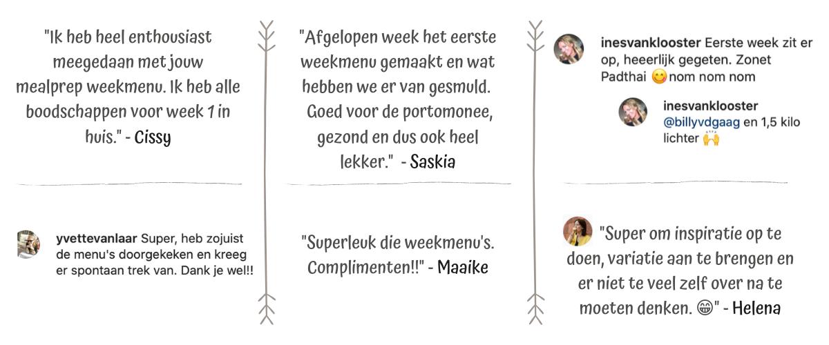 reacties weekmenu's - Leukegeit.nl